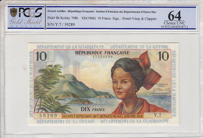 Antilles Françaises 10 Nouveaux Francs Jeune Antillaise - 1966 Série Y.7-59289  PCGS UNC 64