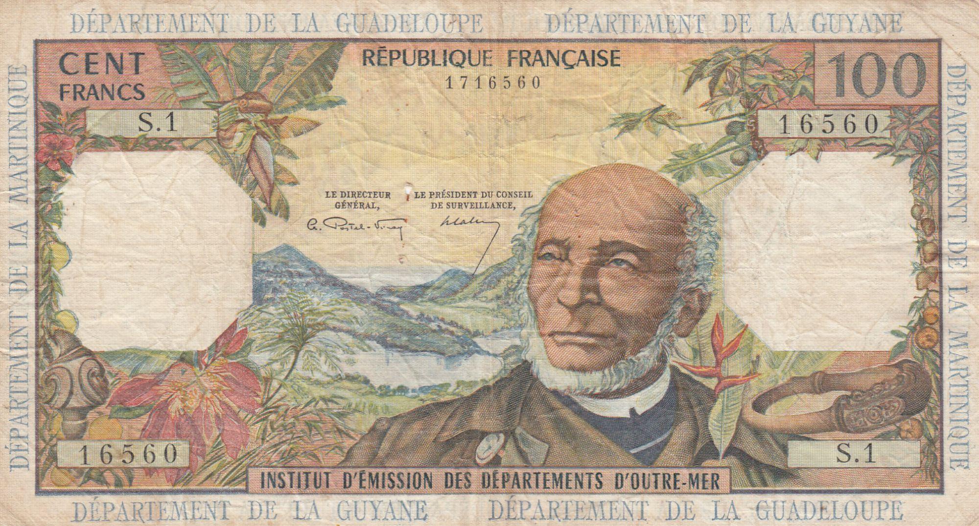 Antilles Françaises 100 Francs Victor Schoelcher - ND (1964) - Série S.1 - p.TTB - P.10a - 1ère signature