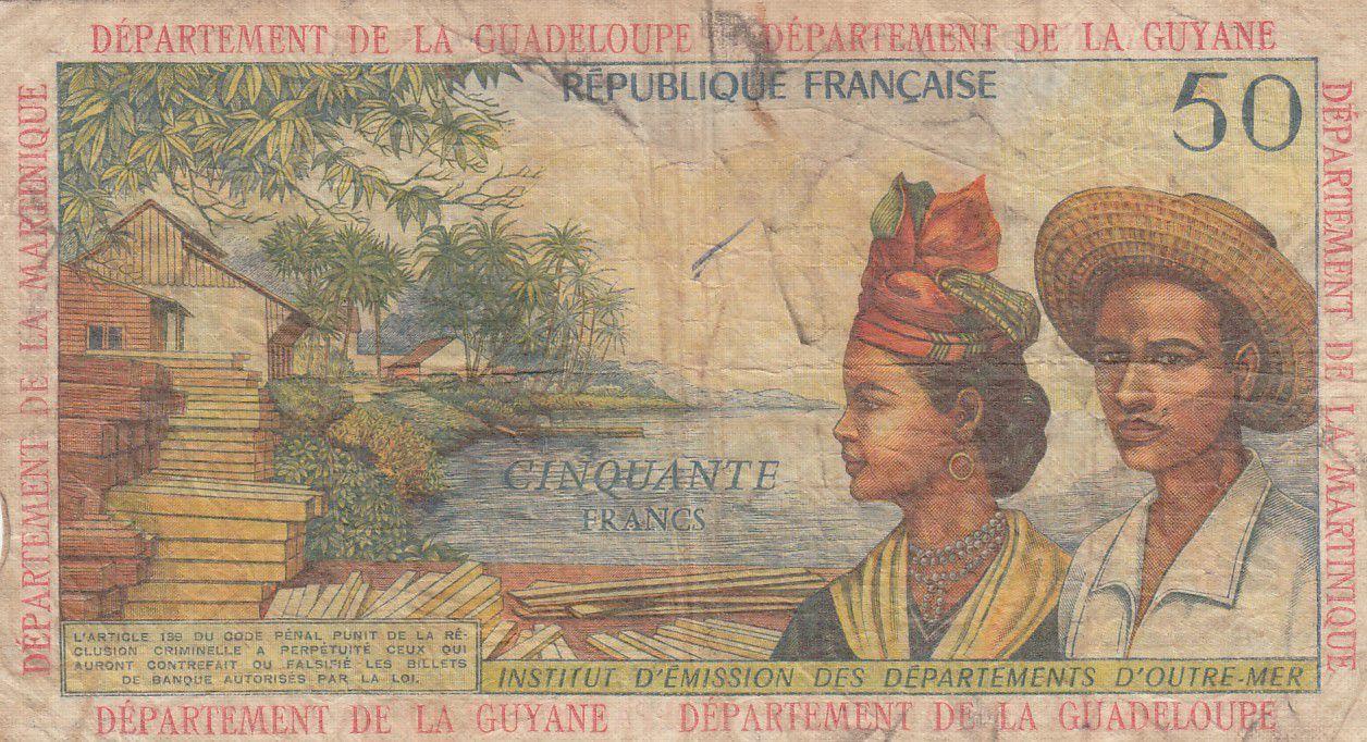 Antilles Françaises 50 Francs Bananiers - 1964 - Série 2 - TB + - P.9 b