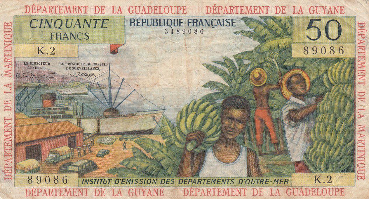 Antilles Françaises 50 Francs Bananiers - 1964 - Série K.2 - pTTB - P.9 b