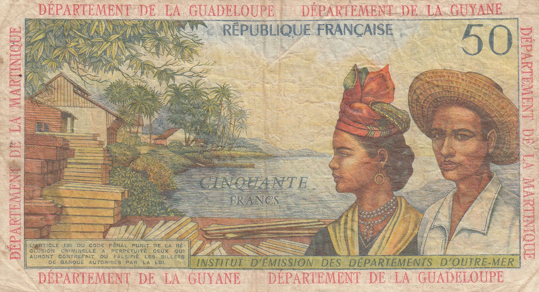 Antilles Françaises 50 Francs Bananiers - 1964 - Série K.2 - TB + - P.9 b