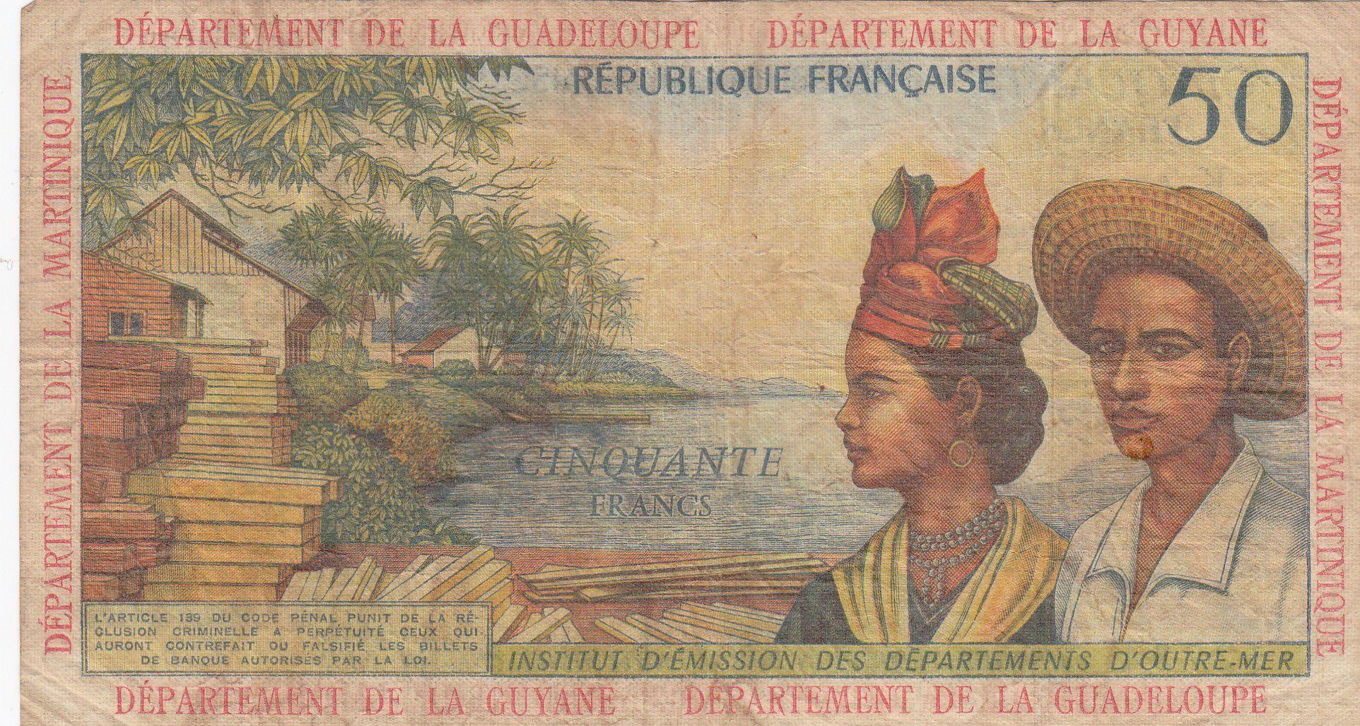 Antilles Françaises 50 Francs Bananiers - 1964 - Série K.2 - TB - P.9 b