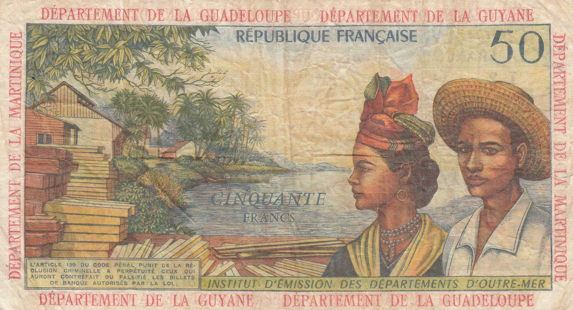 Antilles Françaises 50 Francs Bananiers - 1964 - Série L.2 - TB + - P.9 b
