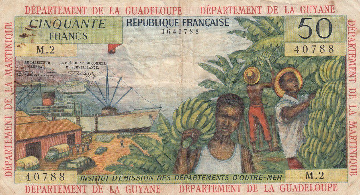 Antilles Françaises 50 Francs Bananiers - 1964 - Série M.2 - TTB - P.9 b