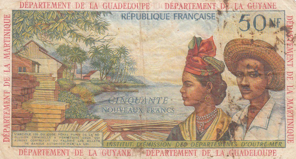 Antilles Françaises 50 NF Bananiers - 1963 - Série J.1 - TB + - P.6a