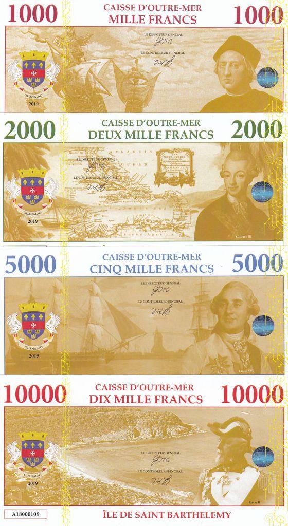 Antilles Françaises Lot 4 billets Fantaisies St Barthelemy - 1000 à 10000 Francs - 2019