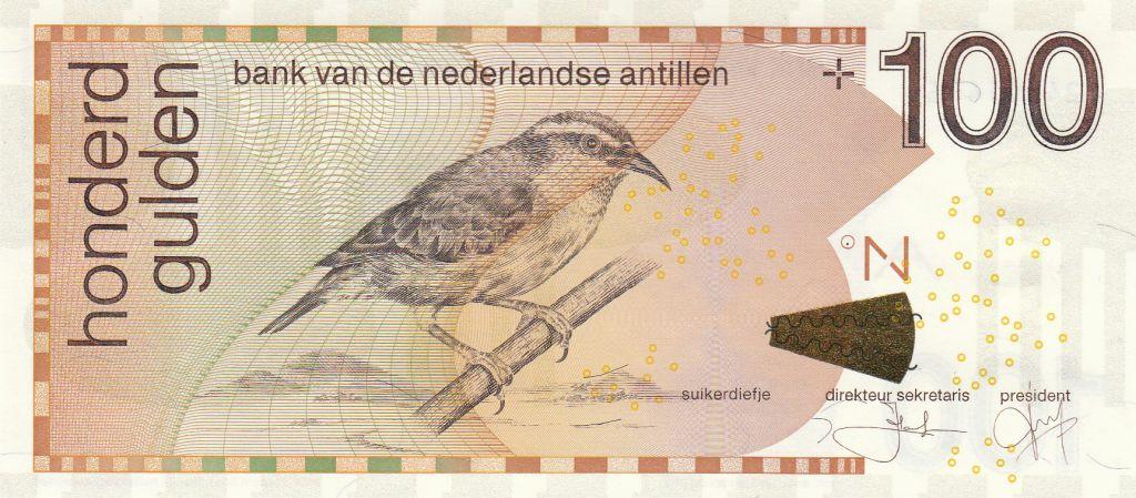 Antilles Néerlandaises 100 Gulden 2016 - Sucrier à ventre jaune