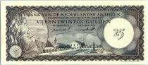Antilles Néerlandaises 25 Gulden, Vue de Curaçao - 1962