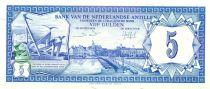 Antilles Néerlandaises 5 Gulden - Curaçao - Monument Steunend op eigen Kracht - 1984
