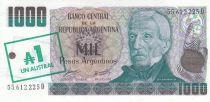 Argentina 1 Austral / 1000 Pesos argentinos ND1985 - J. San Martin - El paso de los Andes