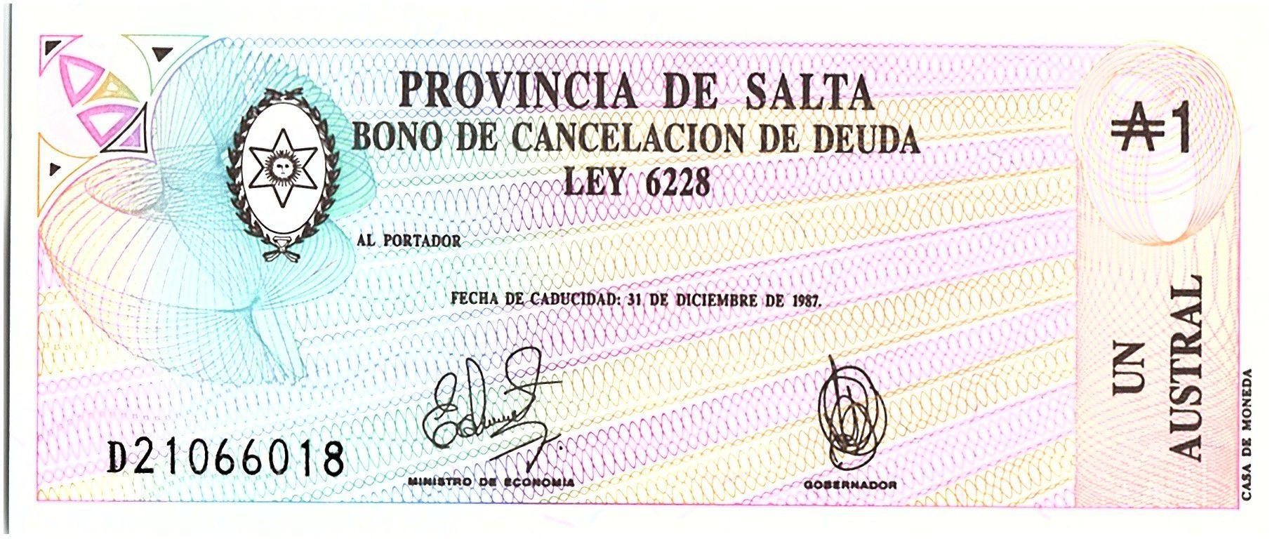 Argentina 1 austral , Province of Salta - 1987