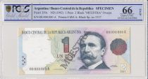 Argentina 1 peso, Carlos Pellegrini  - 1992 - Spécimen - PCGS 66OPQ