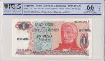 Argentina 1 Peso Argentino , G San Martin  - 1983 - Specimen - PCGS 66 OPQ