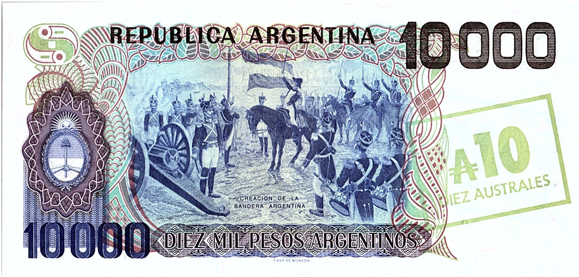 Argentina 10 Australes on 10000 Pésos, Général San Martin - 1985