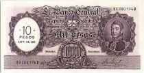 Argentina 10 Pesos on 1000 Pesos, José de San Martin - 1969