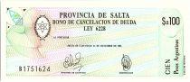 Argentina 100 australes , Province of Salta - 1987