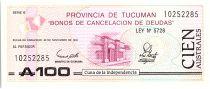 Argentina 100 Australes , Province of Tucuman - 1991
