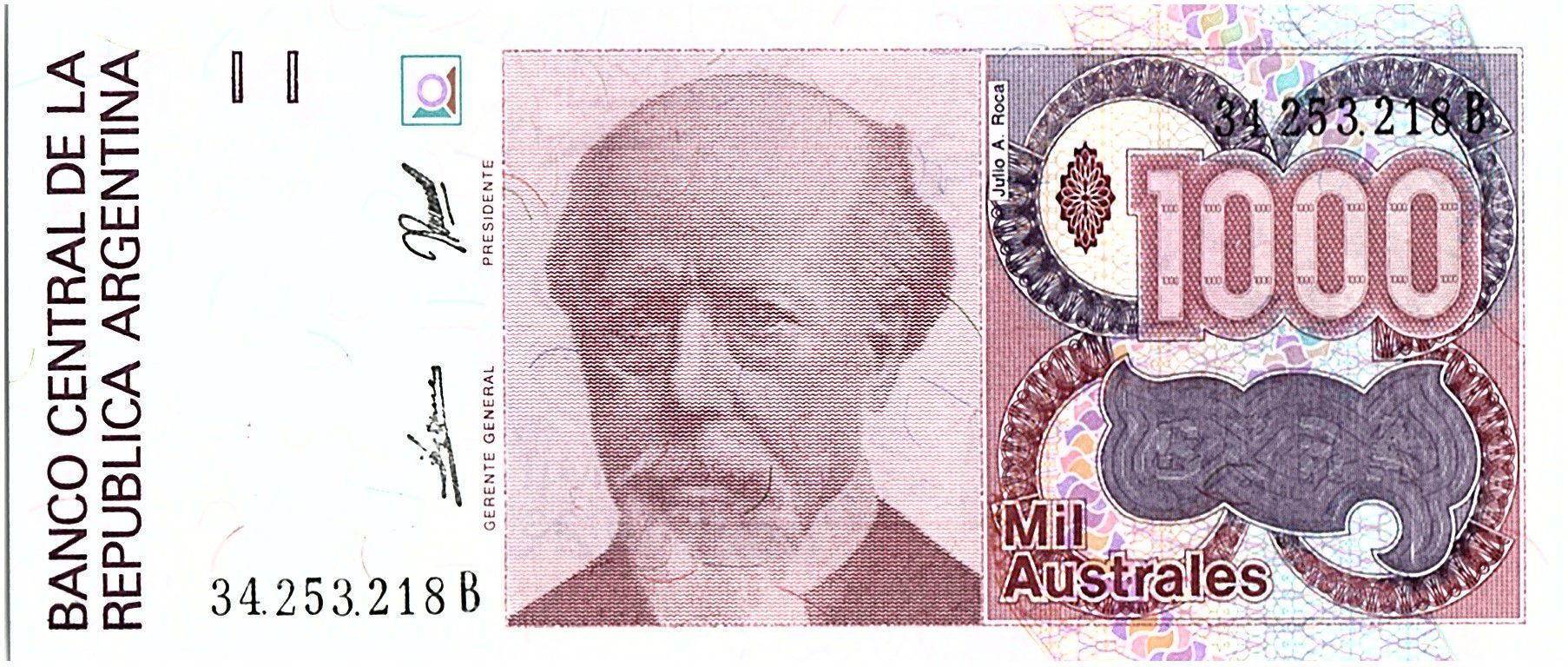 Argentina 1000 Austales, Julio A Roca - 1989