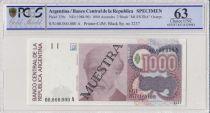 Argentina 1000 Australes , J A Roca  - 1988 - Spécimen - PCGS 65 OPQ