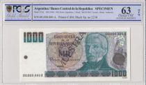Argentina 1000 Pesos Argentinos  - 1983 - Specimen - PCGS 63 OPQ
