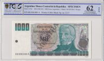 Argentina 1000 Pesos Argentinos , G San Martin  - 1983 - Spécimen - PCGS 62 OPQ