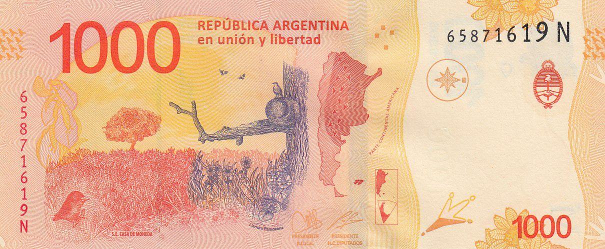 Argentina 1000 Pesos Hornero - 2020 - Suffix N - UNC - P.366