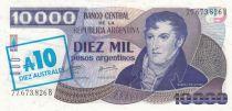 Argentina 10000 Pesos Argentinos Argentinos, M. Belgrano - Creation of flag - 1985