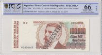 Argentina 100000 Australes  - 1990 - Spécimen - PCGS 66 OPQ