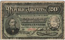 Argentina 20 Centavos, Bartolomé Mitré - 1892 - Fine - P.215