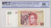 Argentina 20 Pesos Jean Manuel de Rosas - 1998 - Spécimen - PCGS 66 OPQ