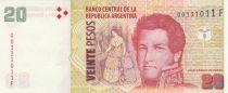 Argentina 20 Pesos M. de Rosas - Obligado battle scene - Serial F 2018