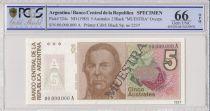 Argentina 5  Australes , J de Urquiza  - 1985 - Spécimen - PCGS 66 OPQ