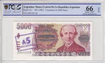Argentina 5 Australes sur 5000 Pesos Argentinos, M. Bautista Alberti  - 1985 - PCGS 66OPQ