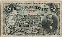 Argentina 5 Centavos, Nicolas Avellaneda - 1891 - Fine + - P.209 Serial R