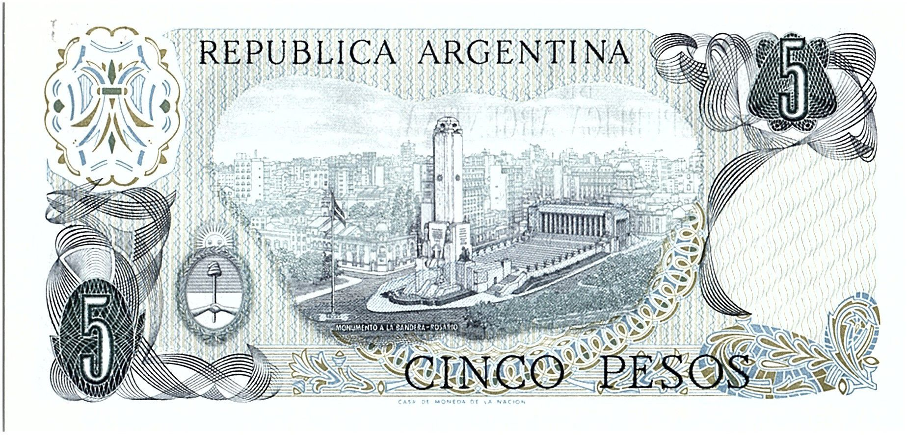 Argentina 5 Pesos, Général Belgrano - 1976