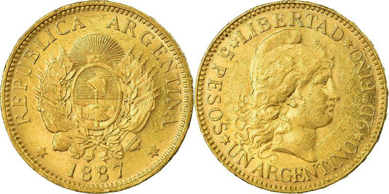 Argentina 5 Pesos Argentino 1887 - Or