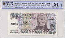 Argentina 5 Pesos Argentinos , G San Martin  - 1983 - Spécimen - PCGS 64 OPQ