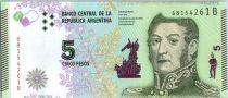 Argentina 5 Pesos J. San Martin - Bolivar, Mendoza, Artigas - Serial B 2016