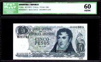 Argentina 5 Pesos M. Belgrano - Monument at Rosario - 1971 - ICG AU/UNC60