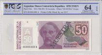 Argentina 50 Australes , B Mitre  - 1986 - Spécimen - PCGS 64 OPQ