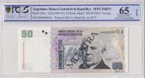 Argentina 50 pesos, M. Faustino Sarmiento  - 1999 - Specimen - PCGS 65OPQ