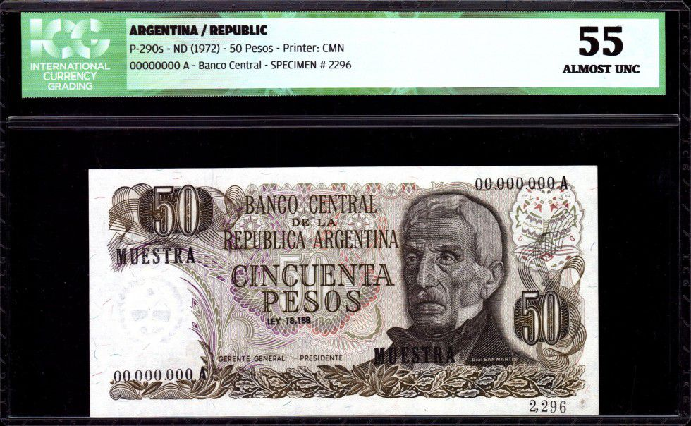 Argentina 50 Pesos J. San Martin - Hot springs at Jujuy - 1972 - ICG AU 55