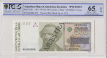 Argentina 500 Australes , N Avellaneda  - 1988 - Spécimen - PCGS 65 OPQ