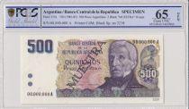 Argentina 500 Pesos Argentinos , G San Martin  - 1983 - Spécimen - PCGS 65 OPQ
