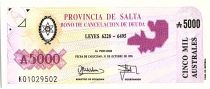 Argentina 5000 australes , Province of Salta - 1991