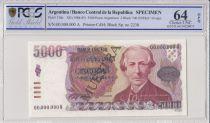 Argentina 5000 Pesos Argentinos - 1984 - Specimen - PCGS 64 OPQ