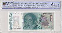 Argentine 1  Austral , B Rivadavia  - 1985 - Spécimen - PCGS 64 OPQ