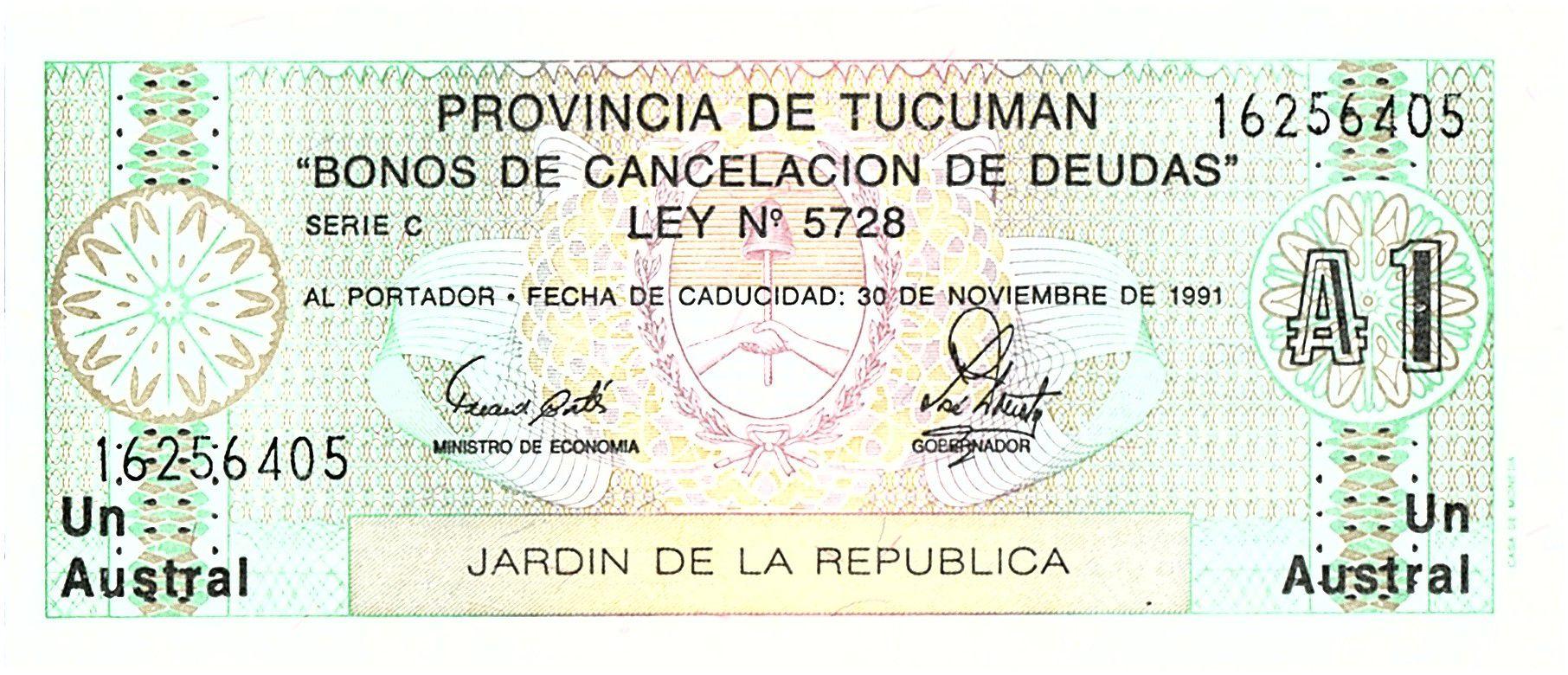 Argentine 1 Austral , Province de Tucuman - 1991