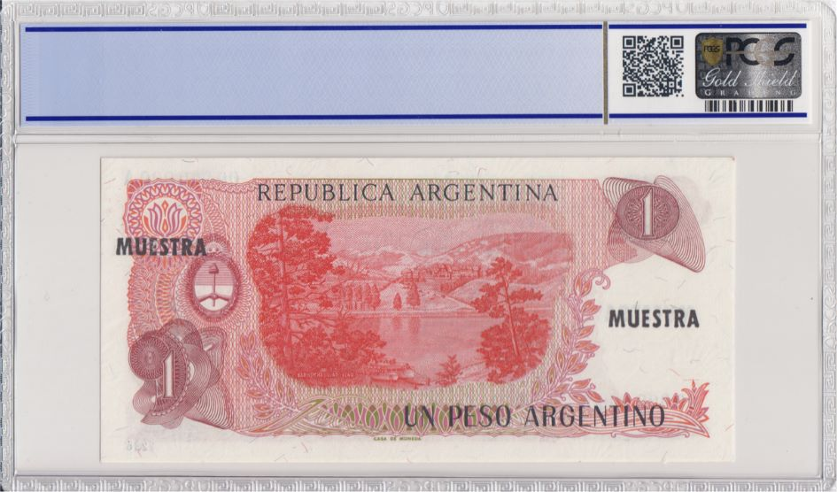 Argentine 1 Peso Argentino , G San Martin  - 1983 - Spécimen - PCGS 66 OPQ