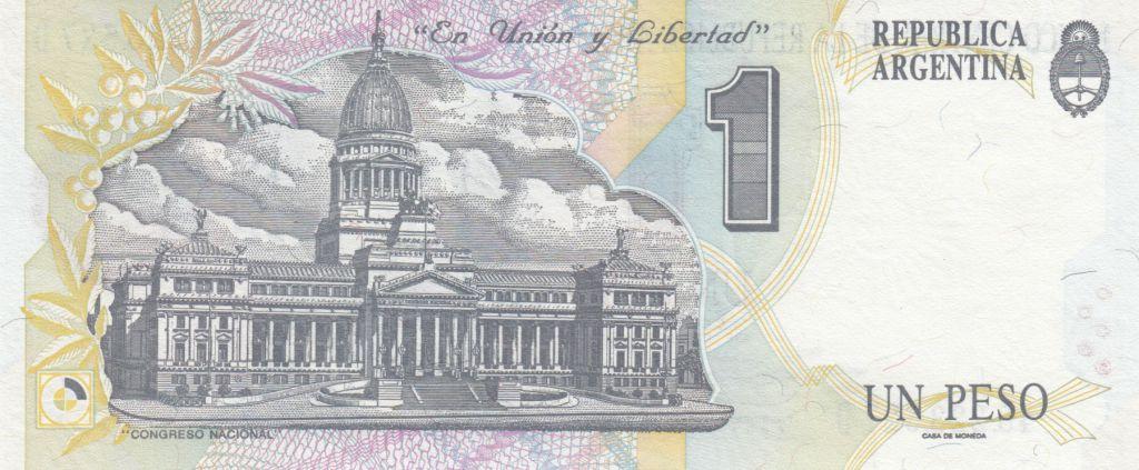 Argentine 1 Peso Pelligrini - Batiment du Congrés National - 1993 - Série D